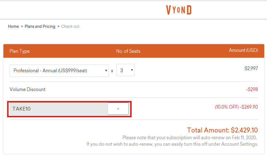how to apply coupon code on vyond